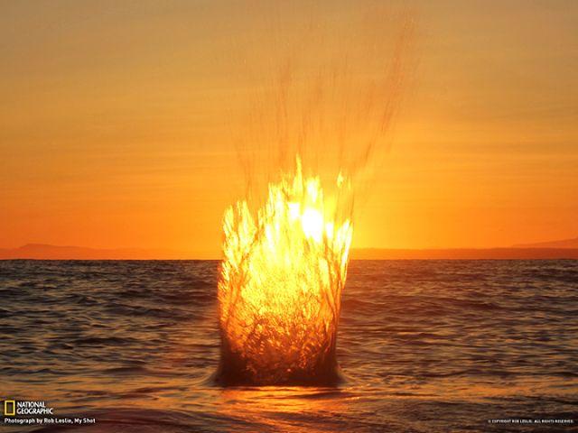 Всплеск от брошенного в воду камня